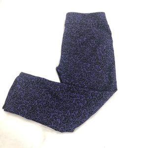 Loft Floral Damask Purple Ankle Pants Size 12